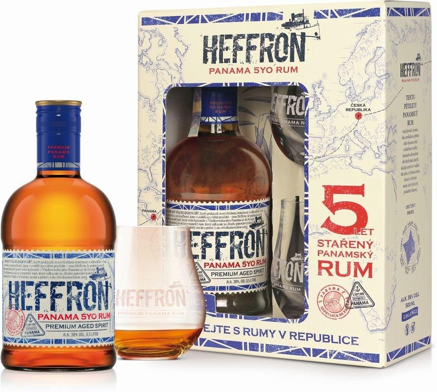 Rum Heffron Panama Rum 5y 0,5l 38% + 2x sklo GB