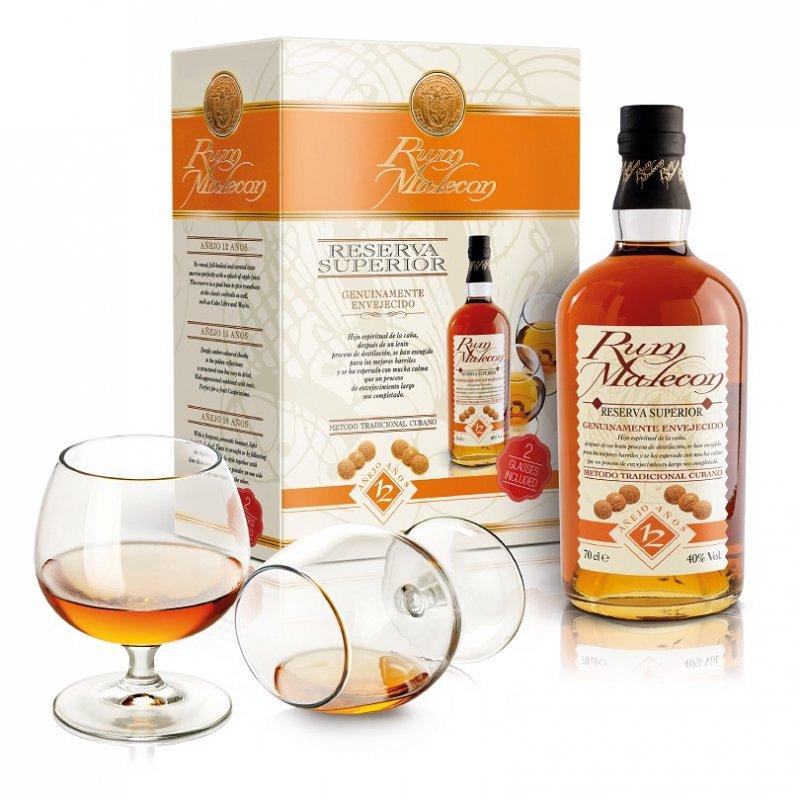 Rum Malecon 12y 0,7l 40% + 2x sklo GB